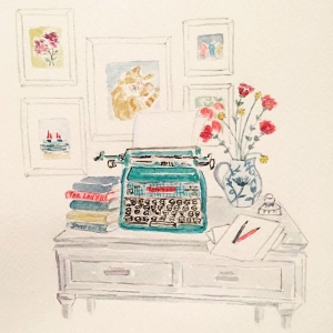 My new column in The Lady magazine (in the UK), starts tomorrow, and here is the gorgeous illustration of my desk to go alongside, by the enormously talented Emma Howcutt. ❤️